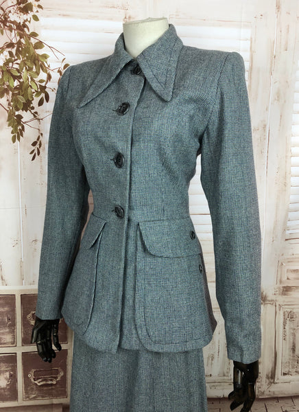 Original 1940s 40s Vintage Grey Micro Check Suit By Betty Rose With Huge Pockets