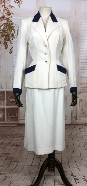 Original 1940s 40s Vintage White Summer Skirt Suit With Navy Accents By Kipness