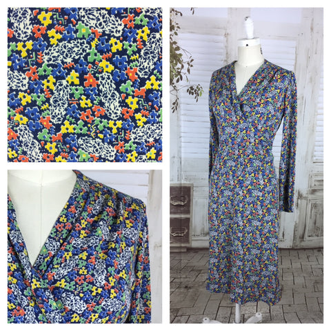 Original 1930s 30s Vintage Bright Floral Print Day Dress With Pleated Bodice
