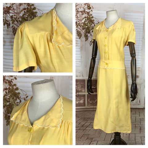 Original Vintage 1940s 40s Lemon Yellow Cotton Silk Fleck Summer Mock Suit Day Dress