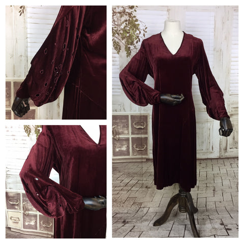 Original 1930s 30s Vintage Burgundy Velvet Dress With Pierced Bishop Sleeves