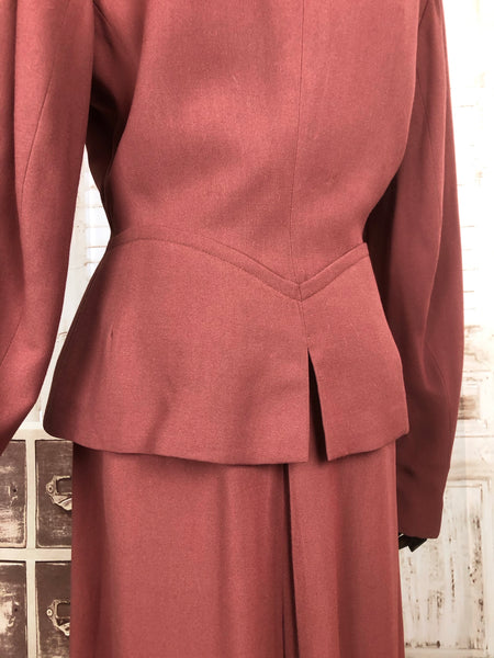 Original 1940s 40s Vintage Rose Pink Skirt Suit