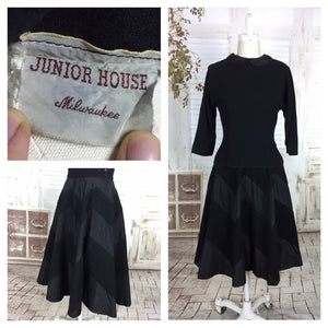 Original 1940s Black Wool And Taffeta New Look Skirt Suit With Chevron Stripe Skirt By Junior House USA