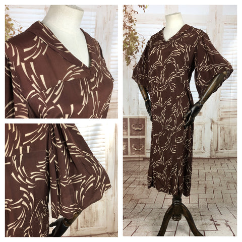 Original 1930s 30s Volup Vintage Brown Dress With Abstract Print And Huge Fluted Sleeves