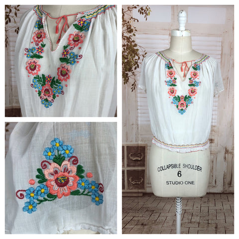 Original 1940s 40s White Light Weight Cheese Cloth Cotton Voile Hungarian Peasant Blouse With Hand Embroidered Flowers And Smocking