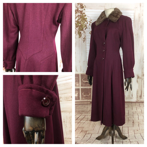 LAYAWAY PAYMENT 1 OF 3 - RESERVED FOR AURIANE - Original 1940s 40s Vintage Burgundy Fit And Flare Princess Coat With Fur Collar