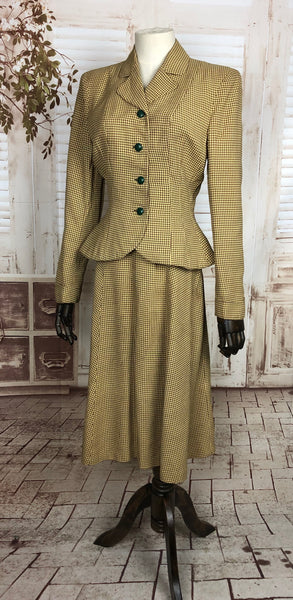 Original 1940s 40s Vintage Mustard Yellow Micro Houndstooth Skirt Suit