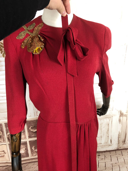 Original 1940s 40s Vintage Crimson Red Crepe Dress With Gold Sequin Appliqué