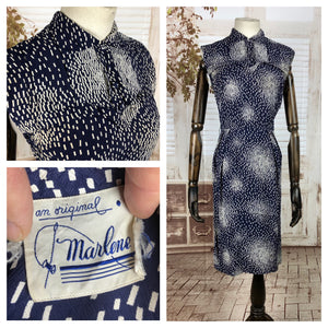 Original Vintage 1950s 50s Navy Blue And White Blot Pattern Rayon Dress By Marlene