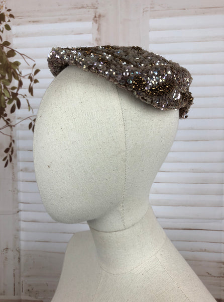 Original 1950s 50s Vintage Iridescent Silver Sequin And Bronze Bead Ladies Half Hat