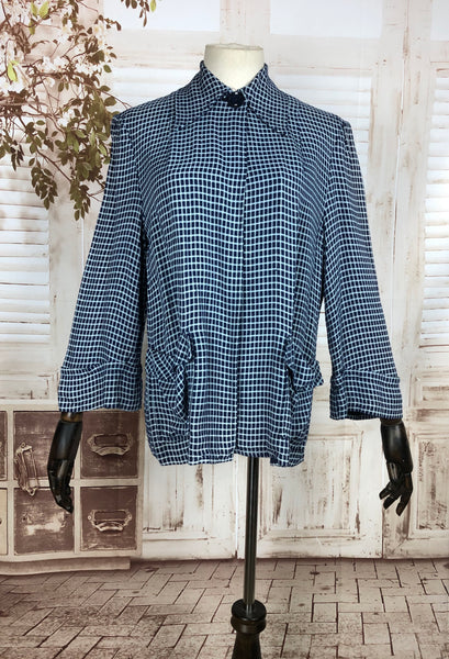 Original 1940s 40s Vintage Blue Check Sportswear Swing Jacket