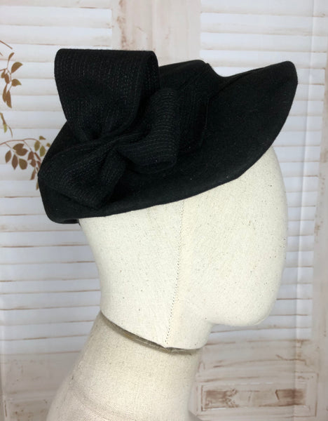 Original 1930s 30s Vintage Black Topstitched Hat