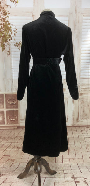 Original Vintage 1940s 40s Black Wrap Over Velvet Evening Dress With Glass Bead Belt
