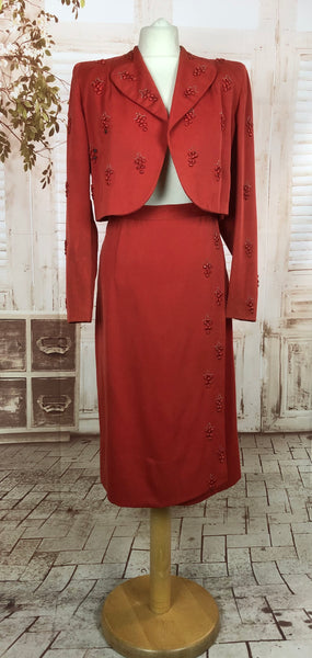 LAYAWAY PAYMENT 2 of 2 - RESERVED FOR SYLVETTE - Incredible Original Vintage 1940s 40s Red Cropped Wrap Suit With Grape Decoration
