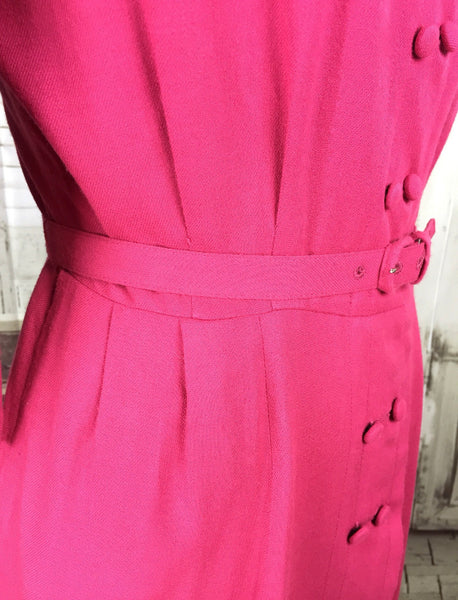 Original 1940s 40s Vintage Pink Wool Day Dress By Versatlier by Carol Crawford