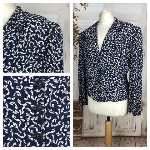 Original 1940s 40s Vintage Volup Navy Fern Novelty Print Blouse