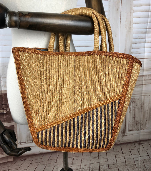 Large 1940s 40s Embroidered Straw Bag