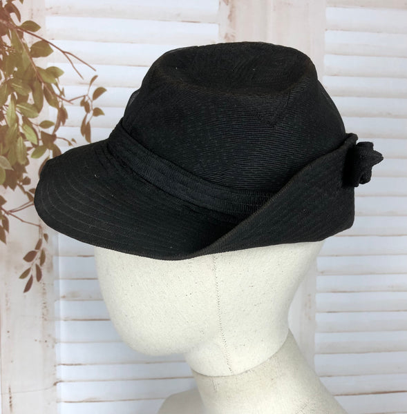 Original 1930s 30s Vintage Black Crepe Fedora Hat With Topstitching