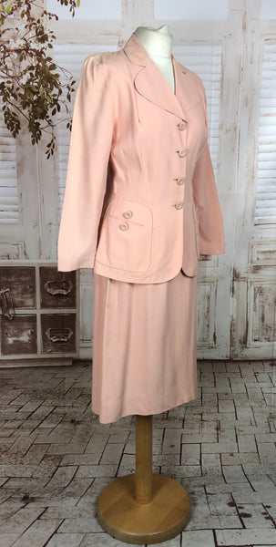 Original 1940s 40s Vintage Pink Starched Cotton Summer Skirt Suit
