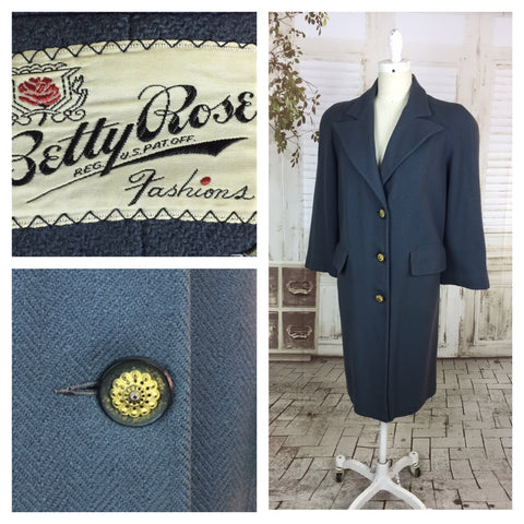 Original 1940s Vintage Petrol Blue Betty Rose Wool Coat With Huge Shoulders