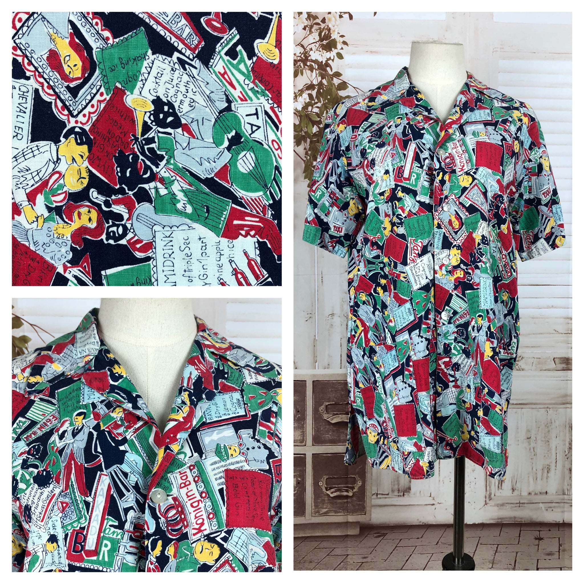 Original 1950s 50s Vintage Novelty Print Smock Blouse With Bar And Cocktail Theme