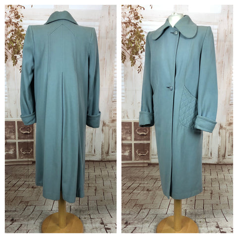 Incredible Duck Egg Blue 1940s 40s Vintage Coat With Trapunto Pockets And CC41 Label