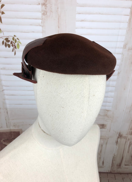 Original 1950s 50s Vintage Brown Felt And Bronze Satin Hat