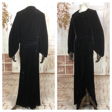 RESERVED FOR DAWN - PLEASE DO NOT PURCHASE - Original 1930s 30s Vintage Black Rayon Velvet Femme Fatale Evening Dress With Incredible Bishop Sleeves