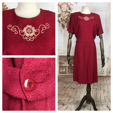Original Early 1950s 50s Volup Vintage Red Knit Dress with Floral Embroidery