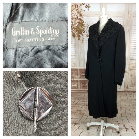 Original 1930s 30s Black Wool Crepe Coat With Astrakhan Collar By Griffin & Spalding