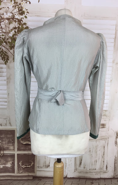 Original 1930s 30s Vintage Light Blue Silk Taffeta Belted Jacket With Puff Sleeves