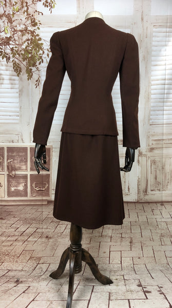 Original Late 1930s 30s Early 1940s 40s Vintage Brown Herringbone Weave Wool Skirt Suit By John Shillito