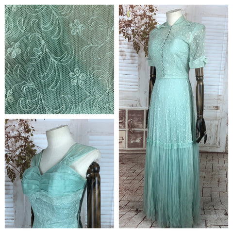 Original 1940s 40s Vintage Mint Green Lace Gown And Jacket Set With Glass Buttons