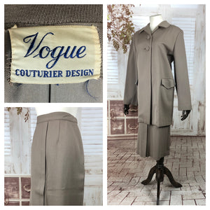 Original 1950s 50s Vintage Taupe Stroller Suit With Swing Coat By Vogue