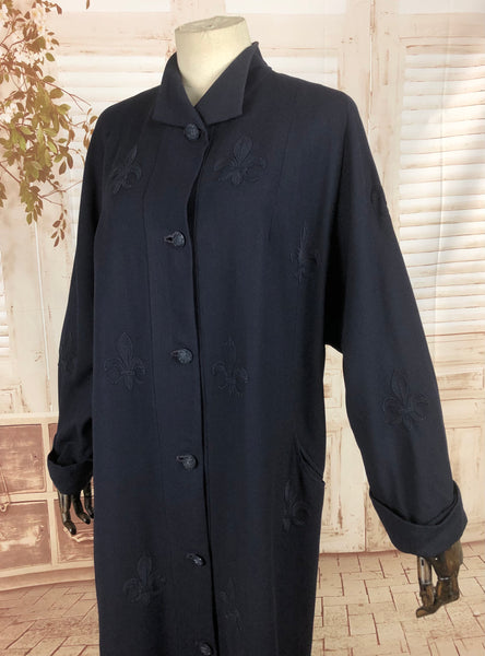 Original Late 1940s 40s Vintage Navy Blue Coat With Soutache Fleur De Lis Design By Forstmann