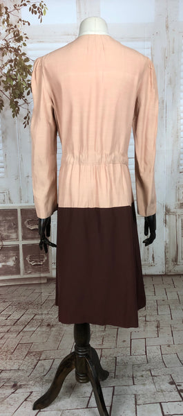 LAYAWAY PAYMENT 2 OF 2 - RESERVED FOR ALEXIS - PLEASE DO NOT PURCHASE - Original 1930s 30s Vintage Pink And Brown Soft Cotton Colour Block Coat  With Tie Belt