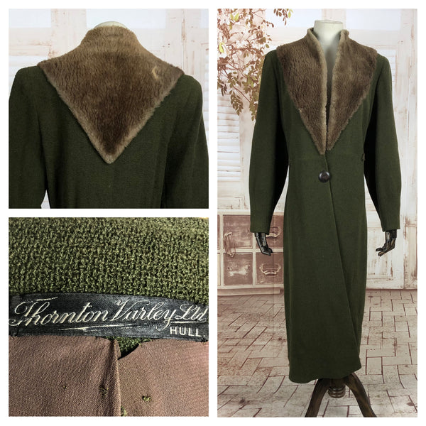 Original Late 1930s 30s Early 1940s 40s Volup Vintage Olive Green Boucle Coat With Sailor Style Fur Collar