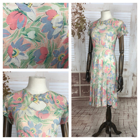 Original 1930s 30s Vintage Floral Pattern Cotton Voile Summer Dress