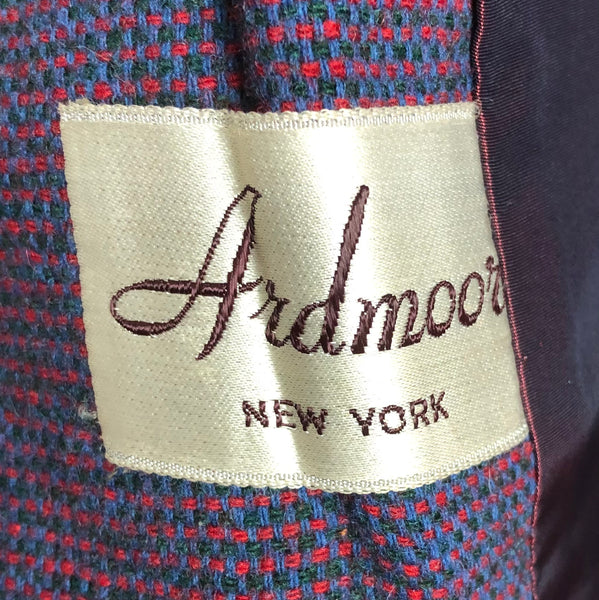 Original Vintage 1940s 40s Red Green And Blue Tweed Suit With Velvet Collar By Ardmoor