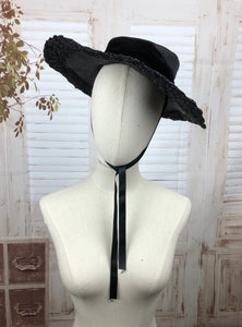 Original 1930s 30s Black Straw And Velvet Wide Brim Hat