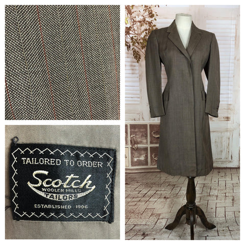 Original Vintage 1940s 40s Grey Brown Lightweight Wool With Red Stripes Coat