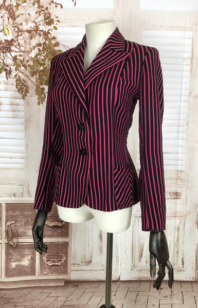 Original 1940s 40s Vintage Black And Hot Pink Stripe Jacket