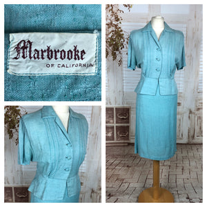 LAYAWAY PAYMENT 2 OF 2 - RESERVED FOR SUSIE - PLEASE DO NOT PURCHASE - Original 1940s 40s Vintage Linen Silk Fleck Summer Suit By Marbrooke Of California