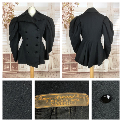 Original 1890s Volup Victorian Riding Habit Jacket With Gigot Leg Of Mutton Sleeves