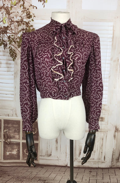 Original 1930s 30s Vintage Burgundy Printed Chiffon Blouse With Padded Shoulders And Ruffle