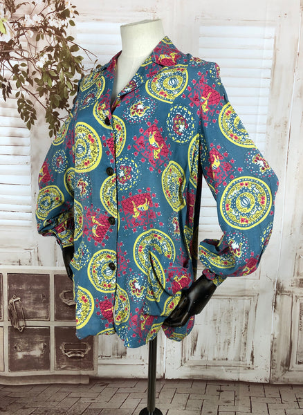 Original 1940s 40s Vintage Novelty Print Smock Top Blouse With Carnival Horses