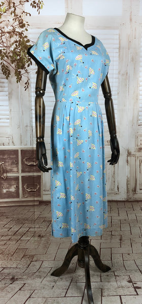 Original 1940s 40s Vintage Feed Sack Sky Blue Novelty Print Day Dress