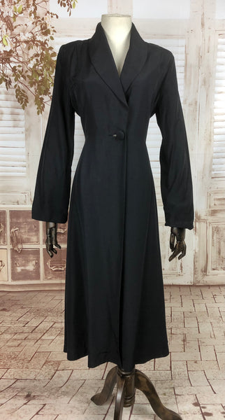 Original 1940s 40s Vintage Black Faille Princess Coat By Margold