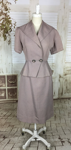 Original 1950s 50s Vintage Pink Blue Pastel Faille Stripe Ladies Skirt Suit Summer Suit