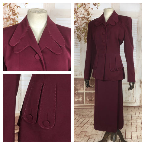 LAYAWAY PAYMENT 1 OF 3 - RESERVED FOR KELLY - Original Vintage 1940s 40s Burgundy Gab Gabardine Skirt Suit With Incredible Scalloped Pockets And Collar